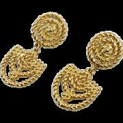 Gold Earrings, Big Statement, Vintage Pierced, 1980s, 80s, Large Dangle, Pierced Posts, Doorknocker, Modern Boho, Huge, Vintage Jewelry