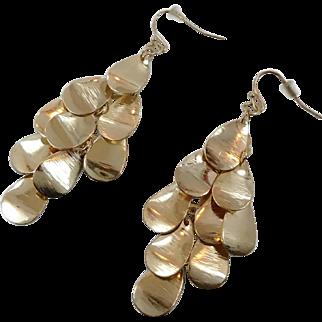 Gypsy Earring, Gold Dangle, Pierced Earrings, Vintage Jewelry, Boho Jewelry, Bohemian, Statement Earrings, Festival Earrings, Big Large