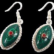 Boho Earrings, Green Earrings, Tibetan Nepal, Red, Composite Stone, Vintage, Inlaid Inlay, Tibet Silver, Statement, Bohemian, Ethnic