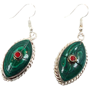Boho Earrings, Green Earrings, Tibetan Nepal, Red, Composite Stone, Vintage, Inlaid Inlay, Tibet Silver, Statement, Bohemian, Ethnic