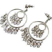 Gypsy Earrings, Boho Statement, Rhinestone, Silver Metal, Pierced Dangle, Vintage Earrings, Big Hoops, Bohemian Hippie, Festival Jewelry