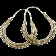 Big Hoop Earrings, Silver Metal, Vintage Earrings, Gypsy Huge Big, Boho Statement, Ethnic Tribal, Belly Dance, Bollywood, Middle Eastern