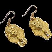 King Tut Earrings, Carol Star Designer, Gold Earrings, Bohemian Earrings, Egyptian Earrings, Signed, Big Statement, 1980s, Pierced Dangle