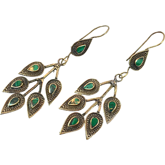 Leaf Earrings, Leaves, Vintage Earrings, Green Stone, Kuchi Afghan, Boho Jewelry, Bohemian, Statement, Mixed Metals, Dangle Long, Gypsy