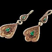 Afghan Earrings, Green Stone, Malachite Earrings, Kuchi Gypsy, Boho Jewelry, Big Bohemian, Statement, Brass, Dangle Long, Kazakh Kazakhstan