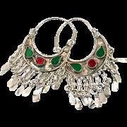 Hoop Earrings, Belly Dance, Kuchi Earrings, Red Green, Ethnic Jewelry, Big Festival, Tribal Afghan, Boho, Bohemian, Large Dangles, Pierced