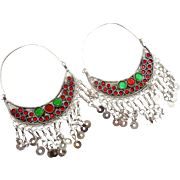 Gypsy Hoop Dangles, Big Kuchi Earrings, Red, Vintage Earrings, Festival, Ethnic Tribal, Afghan Jewelry, Boho Statement, Silver