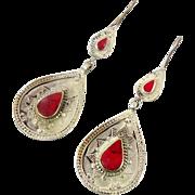 Boho Earrings, Vintage Earrings, Kuchi Gypsy, Kazakh Jewelry, Red Stone, Kazakhstan, Afghan Jewelry, Bohemian, Statement, Belly Dance, Big