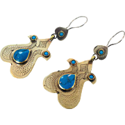 Boho Earrings, Vintage Earrings, Kuchi Gypsy, Turquoise, Pierced Dangle, Afghan Jewelry, Bohemian, Boho Statement, Large Big Long, Festival