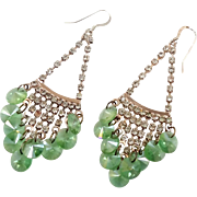 Green Earrings, Rhinestone, Light Green, Long Dangle, Vintage Earrings, Pierced, Elegant Evening, Vintage Jewelry, Big Large, Chandelier