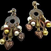 Vintage Earrings, Boho Earrings, Mixed Metal, Big Earrings, Statement Jewelry, Heart Charms, Gypsy Earrings, Hippie Earrings