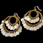 Big Boho Earrings, Mother of Pearl, Big Statement, Vintage Earrings, Shell Mermaid, Gypsy, Gold Earrings, Bohemian, Festival, Large Pierced