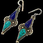Turquoise Earrings, Tibetan Nepal, Blue Lapis, Vintage Earrings, Inlaid Inlay, Tibet Silver, Boho Statement, Bohemian, Ethnic, Tribal