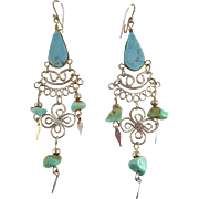 Turquoise Earrings, Peruvian Earrings, Gypsy Earrings, Silver, Vintage Earrings, Ethnic, Boho, Long Dangles, Big Earrings, Hippie
