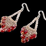 Red Earrings, Rhinestone, Orange Red, Long Dangle, Vintage Earrings, Pierced, Elegant Evening, Vintage Jewelry, Big Large, Chandelier