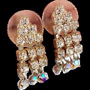 Rhinestone Earrings, Vintage Earrings, Dangle Earrings, Pierced Posts, Clear Rhinestone