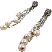 "Pearl Earrings, Rhinestone, Long Chain, Vintage Earrings, 3"" Long, Big Statement, Long Dangles, Pierced Earrings, Evening, Bridal, Silver"