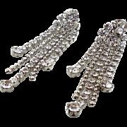 "Rhinestone Earrings, Dangle, Vintage Jewelry, 3"" Long, Pierced Earrings, Clear, Prong Set, Silver, Big Statement, Evening Jewelry, Bridal"