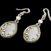 Rhinestone Earrings, Silver Earrings, Pierced Earrings, Clear Rhinestones, Modern, Cat's Eye Beads, Dangle Earrings, Vintage Jewelry, Long