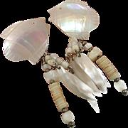Shell Earrings, Mother of Pearl, Vintage Earring, Carved Fish, Shell Earrings, Beach Jewelry, Mermaid Jewelry, Long Dangle, MOP, Bohemian