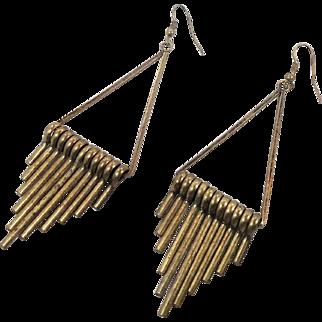 Boho Earrings, Vintage Earrings, Big Statement, Darkened Metal, Boho Bohemian, Festival Jewelry, Hippie, Dangle, Pierced, Vintage Jewelry