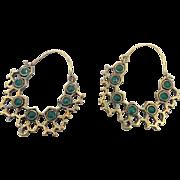 "Bohemian Earrings, India Brass, Green Glass, Big Statement, Vintage Pierced, Large Hoops, Ethnic Tribal, 2"" Long, Festival Jewelry"