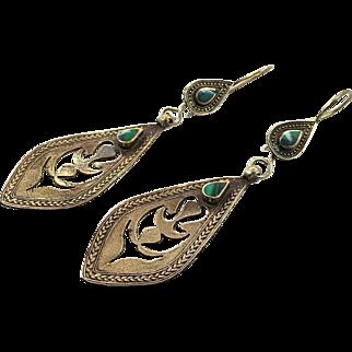 Boho Earrings, Green Stone Earrings, Afghan, Kuchi Gypsy, Boho Jewelry, Big Bohemian, Statement, Dangle Long, Festival, Vintage Jewelry