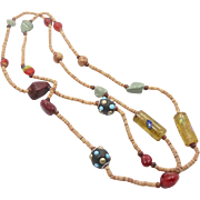 Boho Long Glass & Stone Beaded Necklace - Vintage Unique Old Beads - InVintageHeaven