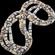 Vintage Long Beaded Boho Necklace - Blue Cream - 1970s Hippie - InVintageHeaven