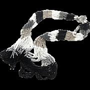 Boho Necklace, Big Statement, Beaded Necklace, Black White, Vintage Necklace, Multi Strand, Oversized, Huge Bohemian, Ethnic Tribal, Bib
