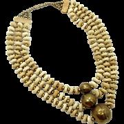 Bone Brass Necklace, Big Statement, Vintage Necklace, NOS India, Bohemian Boho, Massive Huge, Ethnic Tribal, Bone, Oversized
