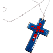 Enameled Cross, Sterling Necklace, Vintage Jewelry, Silver Chain, 1970s 70s, Copper Pendant, Blue Red, Ethnic Hippie, Gypsy, Boho Bohemian