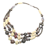 Beaded Stone Gypsy Boho Necklace - Vintage Big Statement - InVintageHeaven
