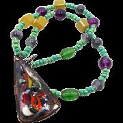 Enameled Pendant, Beaded Necklace, Vintage Jewelry, Rainbow Colors, 1970s, Copper, Blue Black, Green Purple, Ethnic Hippie, Boho Bohemian