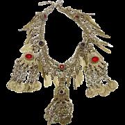 Boho Statement, Afghan Necklace, Vintage Necklace, Kuchi Jewelry, Hazara, Gypsy, Bohemian, Large Big, Jeweled, Belly Dance, Ethnic Tribal