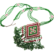 Afghan Necklace, Kuchi Beaded, Green Glass, Vintage Necklace, Boho Jewelry, Tribal Ethnic, Bohemian, Big Statement, Medallion, Woven, Gypsy