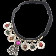 Kuchi Necklace, Afghan Jewelry, Coins, Dangles, Vintage, Jewels Pink Green, Gypsy Jewelry, Banjar, Boho Statement, Bohemian, Ethnic Tribal
