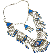 Boho Necklace, Chainmail, Blue Stone, Vintage Necklace, Boho Statement, Festival, Afghan Gypsy, Bohemian, Kuchi Ethnic Tribal, Big Large