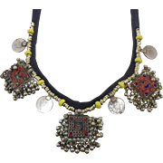 Gypsy Necklace, Afghan Jewelry, Vintage Necklace, Red Jewels, Blue Yellow, Kuchi Jewelry, Banjara Turkomen, Boho Statement, Bohemian, Ethnic