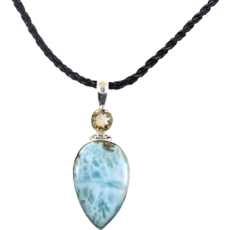 Blue Larimar Pendant, Citrine Necklace, Sterling Silver, Black Leather, Vintage Necklace, Dolphin Stone, Big Piece, Atlantis Stone, Stefilia