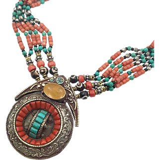 Boho Nepal Necklace, Turquoise Necklace, Coral, Nepalese Jewelry, Vintage Necklace ,Beaded, Tibetan Silver, Boho Bohemian, Tribal Ethnic