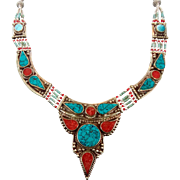 Turquoise Necklace, Coral Stone, Nepal Jewelry, Vintage Necklace, Vintage Jewelry, Tibetan Silver, Boho Bohemian, Tribal Ethnic, Gypsy