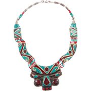 Turquoise Necklace, Nepal Jewelry, Boho Necklace, Tibetan Silver, Vintage Bohemian, Tribal Ethnic, Gypsy Jewelry, Red Stone, Inlay Inlaid