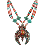 Boho Nepal Necklace, Turquoise Necklace, Red Amber, Nepalese Jewelry, Vintage Necklace, Beaded, Tibetan Silver, Boho Bohemian, Tribal Ethnic