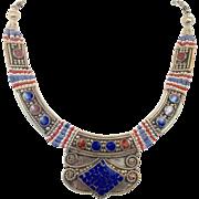 Lapis Necklace, Red Stone, Nepal Jewelry, Vintage Necklace, Tibetan Silver, Boho Bohemian, Tribal Ethnic, Gypsy Tibet, Inlaid Inlay