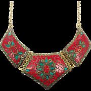 Red Jasper Necklace, Tibet Necklace, Green Malachite, Nepal Jewelry, Vintage Necklace, Brass, Bib Necklace, Boho Bohemian, Gypsy, Statement