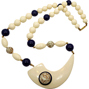 Statement Necklace, Vintage Beaded, Unique Unusual, Navy Blue, Cream Off White, Lucite, Bohemian, Boho Gypsy, 1980s, Large Oversized