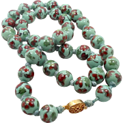 Mint Green, Porcelain Necklace, Hand Knotted, Vintage Jewelry, Flower Pattern, Gold Clasp, Asian Beads, Large Big, Seafoam Green, Aqua
