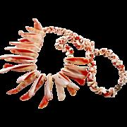 Shell Necklace, Beaded, Peach White, Seashell, Sea Ocean, Fringe Spiked, Beach Cruise Jewelry, Big Statement, Boho Bohemian, Mermaid