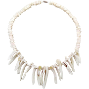 Shell Necklace, Beaded, Cream White, Seashell, Sea Ocean, Fringe Spiked, Beach Cruise Jewelry, Big Statement, Boho Bohemian, Mermaid, Surfer